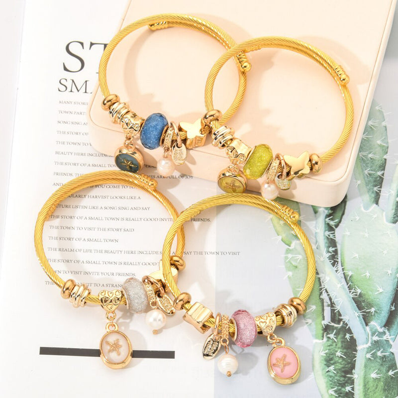 Cute Gold Beaded Rope Bangle Bracelet - www.Jewolite.com #bracelet  Edit alt text
