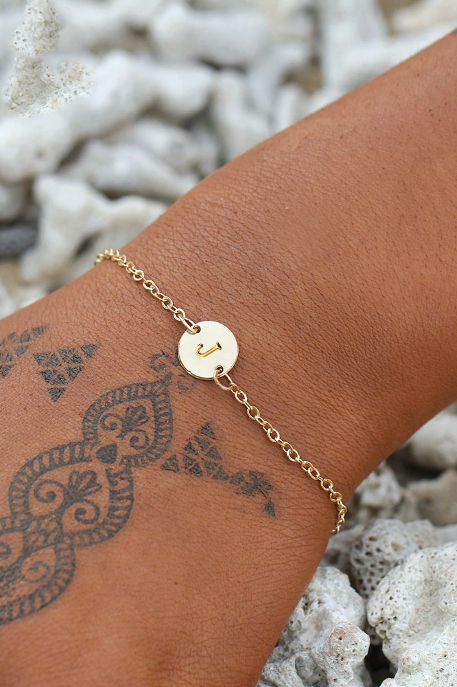 Cute Minimalist Circle Initial Alphabet Chain Gold Anklet Ankle Bracelet Fashion Jewelry - www.Jewolite.com