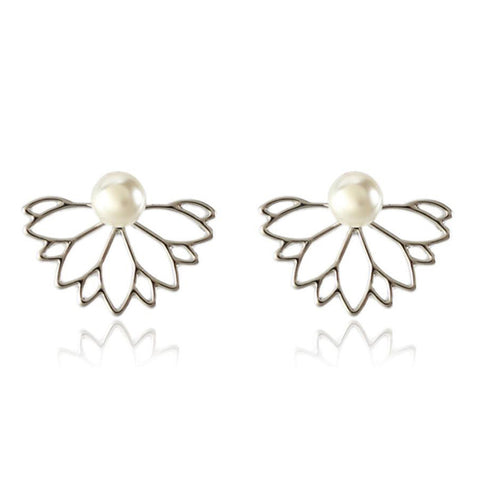 Brittany Crystal Starburst Pearl Ear Jacket Earring