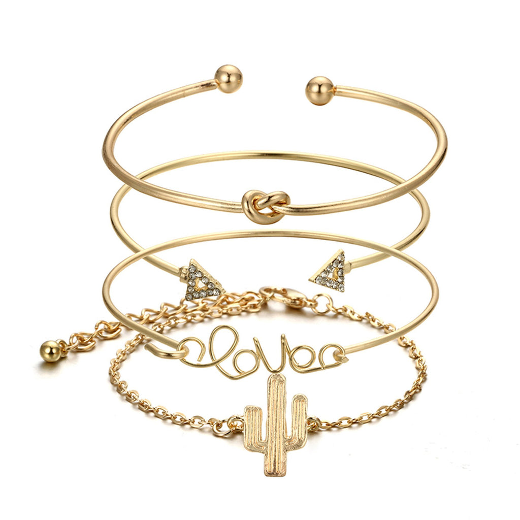 Cute Bracelet Set Knot Crystal Heart Love Cactus Bangle in Gold for Women Statement Fashion Jewelry for Teens (www.Jewolite.com) #bracelets