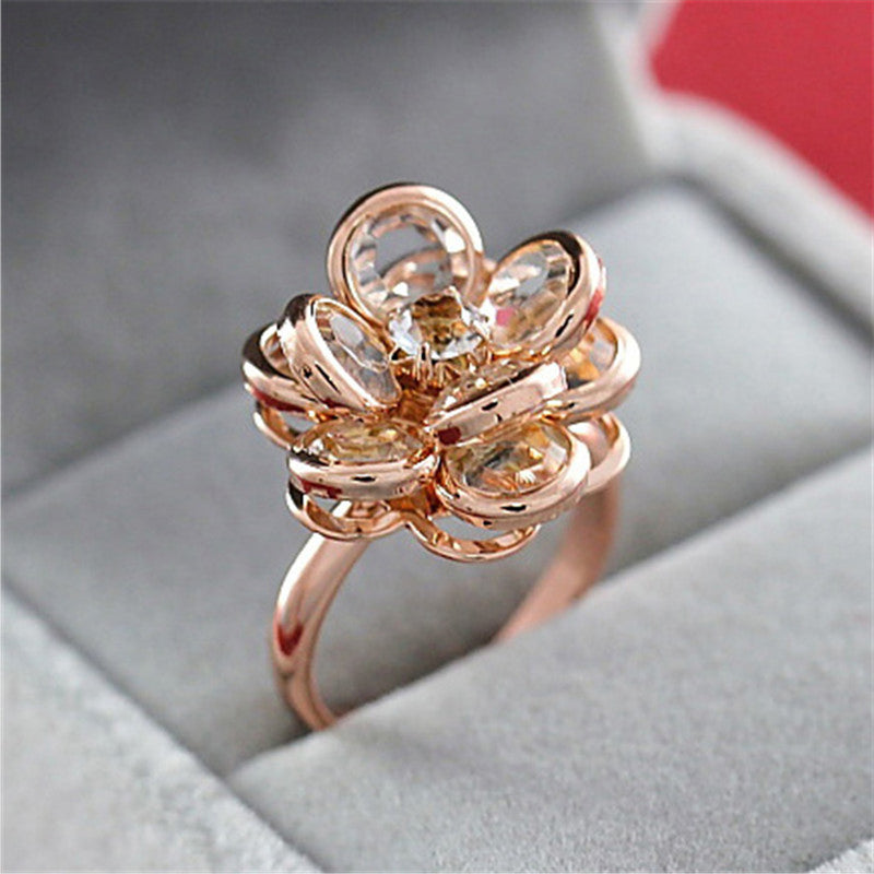 Chunky Large Flower Ring Crystal Floral Anniversary Graduation Promise Engagement Wedding Present Ring Statement Fashion Jewelry for Women in Rose Gold (www.Jewolite.com) #rings