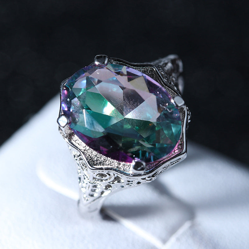 Chunky Alexandrite Silver Ring Precious Gemstone Stone Single  Prong Victorian Swirl Solitaire Rings Anniversary Graduation Promise Engagement Wedding Present Ring Statement Fashion Jewelry for Women (www.Jewolite.com) #rings
