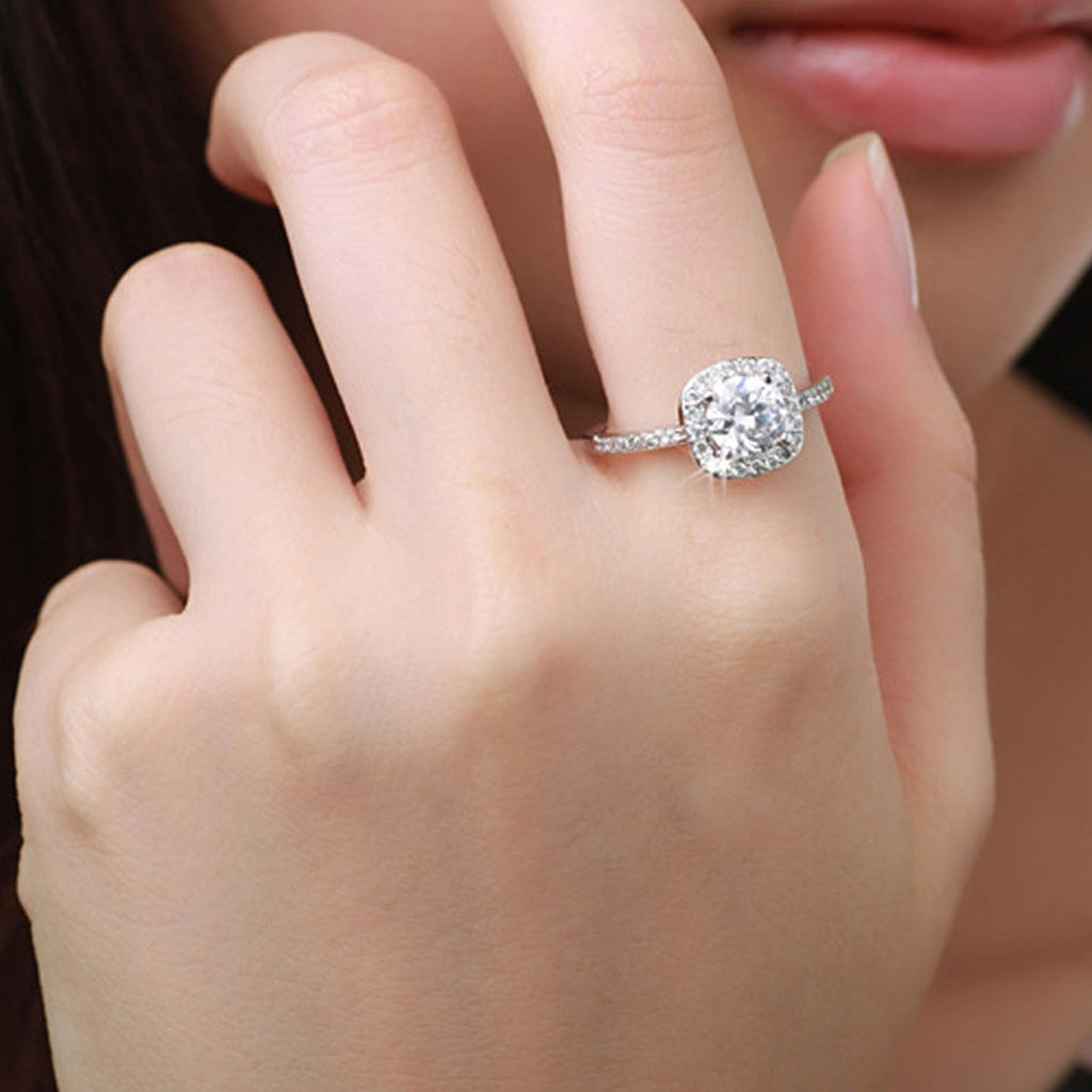 Halo Cushion Cut Ring Simple Classic Engagement Promise Anniversary Cheap Rings in Silver Fashion Jewelry (www.Jewolite.com) #rings