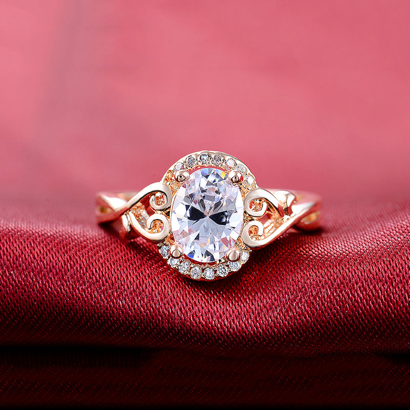 Cute Sparkly Halo Oval Ring Unique Engagement Promise Graduation Wedding Rings Crystal Diamond Heart Swirl Fashion Statement Jewelry in Gold for Teens for Women (www.Jewolite.com) #rings
