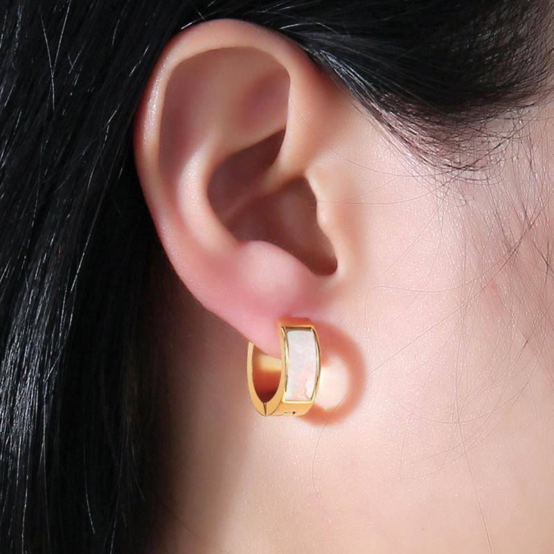 Cute Opal Shell Gold Hoop Huggie Earrings for Women Trendy Popular pendientes de oro de aro pequeño opal para mujeres (www.Jewolite.com) #earrings