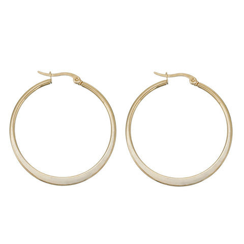 Millie Opal Seashell Thick Gold Huggie Small Hoop Earrings
