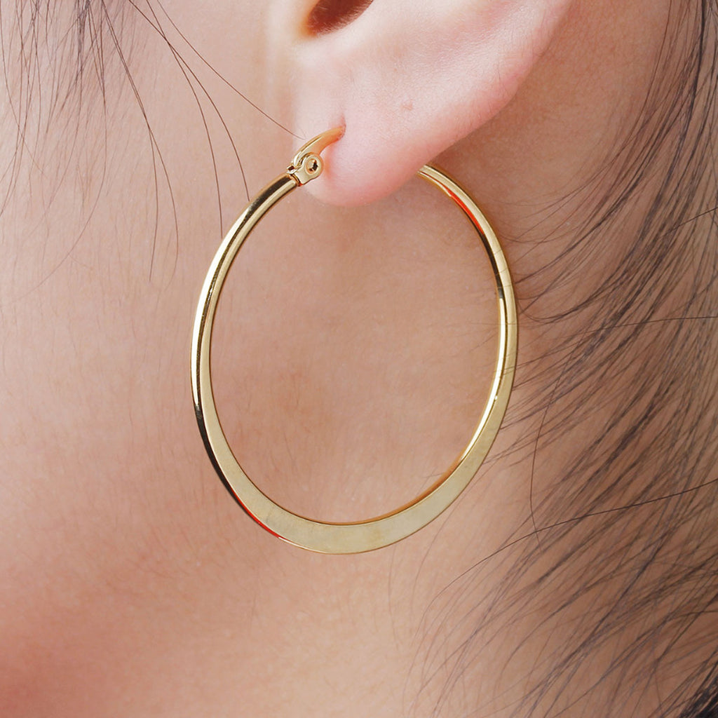Simple Ear Piercing Ideas Round Large Hoop Earrings in Gold for Women for Teen Girls 40mm (www.Jewolite.com) #earrings