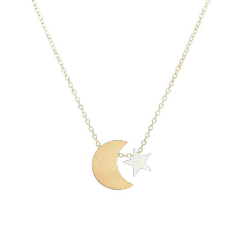 Cute Simple Moon Star Dainty Pendant Necklace for Teens for Women lindo collar de luna estrella simple para las mujeres (www.Jewolite.com) #necklaces