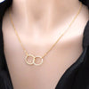 Simple Interlocking Circle Infinity Necklace in Silver or Gold Sister Friendship Gift Fashion Jewelry for Women collar de círculo simple  (www.Jewolite.com)