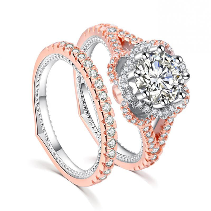 Rose Gold Flower Ring Sparkly Simple Cute Crystal Band Ring Set Classy Statement Fashion Jewelry for Women (www.Jewolite.com) #rings