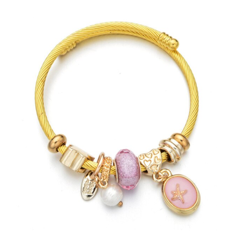 Cute Gold Beaded Rope Bangle Bracelet - www.Jewolite.com #bracelet