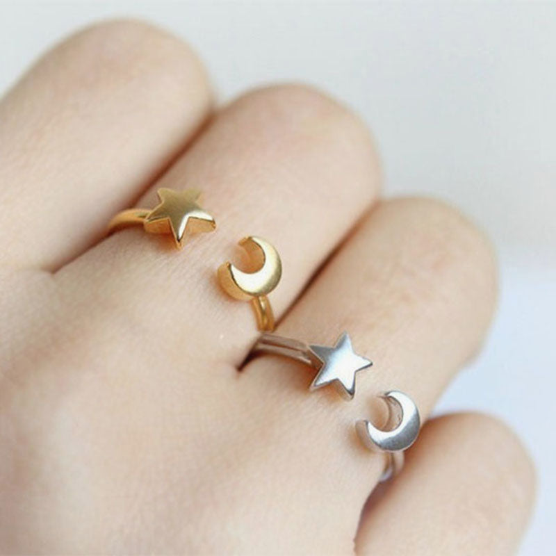 Cute Simple Ring - Adjustable Stackable Star & Moon Rings Fashion Jewelry in Rose Gold Silver for Women for Teens - lindo anillo ajustable de la luna de la estrella - www.Jewolite.com #rings