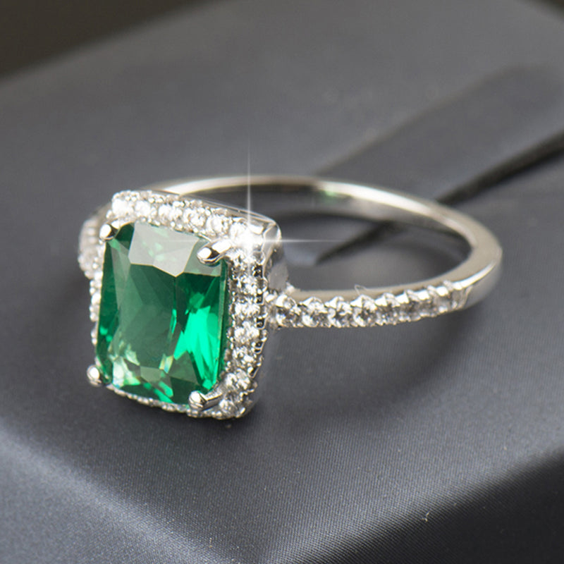 Cute Sparkly Emerald Square Ring Unique Gemstone Green Crystal Halo Engagement Promise Graduation Wedding Rings Rectangle Diamond Fashion Statement Jewelry in Silver (www.Jewolite.com) #rings
