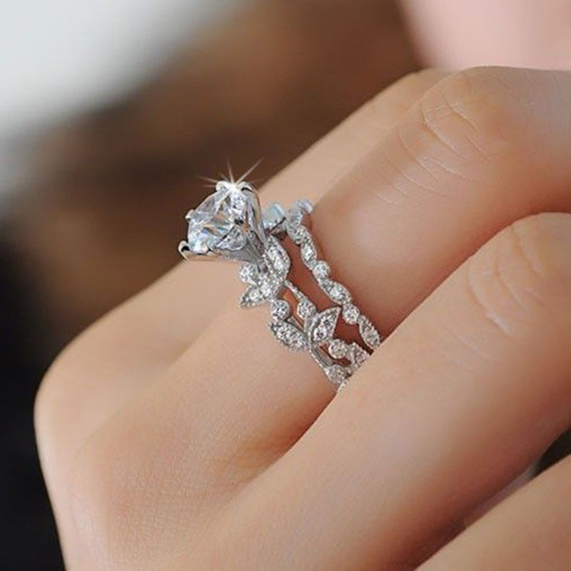 Unique Flower Solitaire Ring Crystal Anniversary Graduation Promise Engagement Wedding Present Ring Set in Silver Statement Fashion Jewelry for Women (www.Jewolite.com) #rings