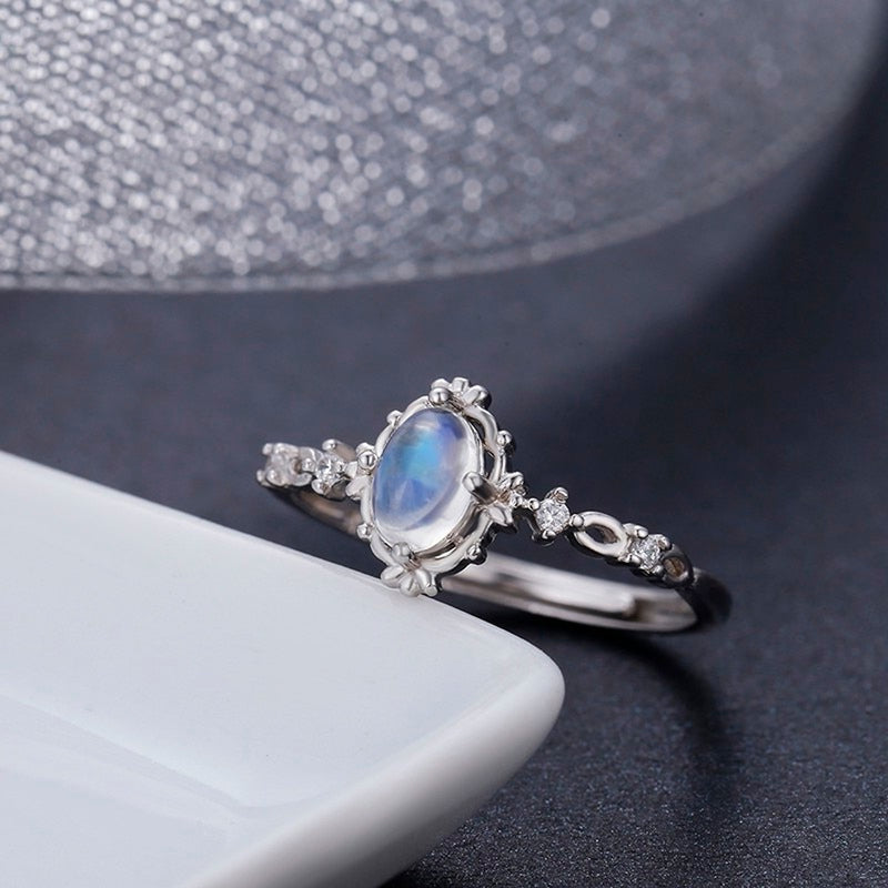 Cute Dainty Blue Moonstone Gemstone Ring  Vintage Unique Boho Simple Opal Promise Rings for Teens Fashion Jewelry for Women anillo de piedra lunar azul (www.jewolite.com)