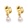 Classy Gold Hoop Huggie Pearl Drop Dangle Earrings Small Hoop Elegant Ear Piercing Ideas for Teens for Women lindo perla cuelga los pendientes del aro (www.Jewolite.com) #earrings