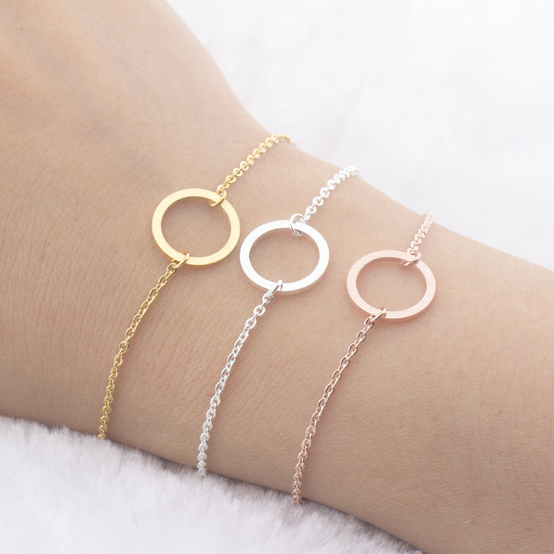 Simple Minimalist Circle Chain Bracelet in Gold, Silver or Rose Gold for Women for Teen Girls (www.Jewolite.com) #bracelets