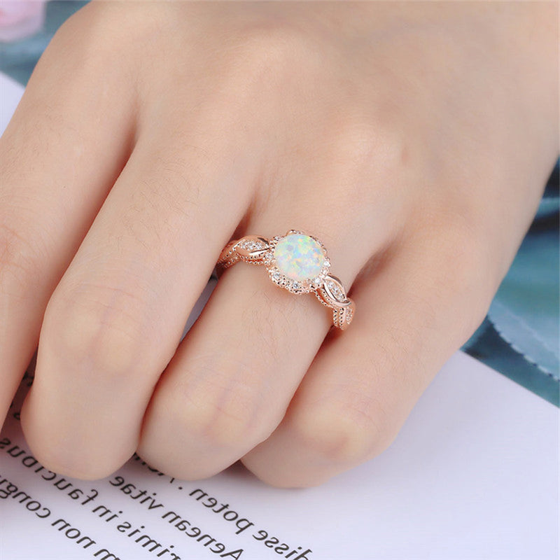 White Opal Rose Gold Swirl Ring Beautiful Pretty Cute Rings Anniversary Graduation Promise Engagement Wedding Present Ring Statement Fashion Jewelry for Women (www.Jewolite.com) #rings