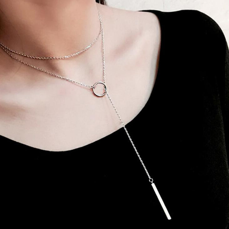 Simple Lariat Necklace in Silver - Bar and Circle Pendant Long Choker Fashion Jewelry - Colgante simple en forma de círculo y barra en plata - www.Jewolite.com #necklace