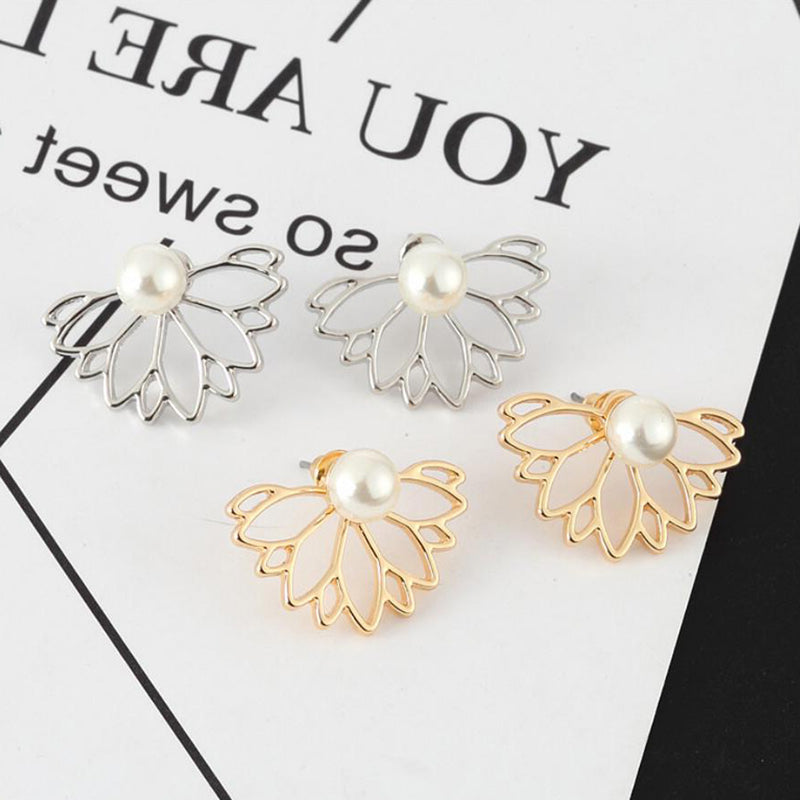 Classy Pearl Flower Ear Jacket Earrings - Elegant Ear Piercing Ideas for Women -pendientes de la perla de la flor de la oreja -  www.Jewolite.com #earrings