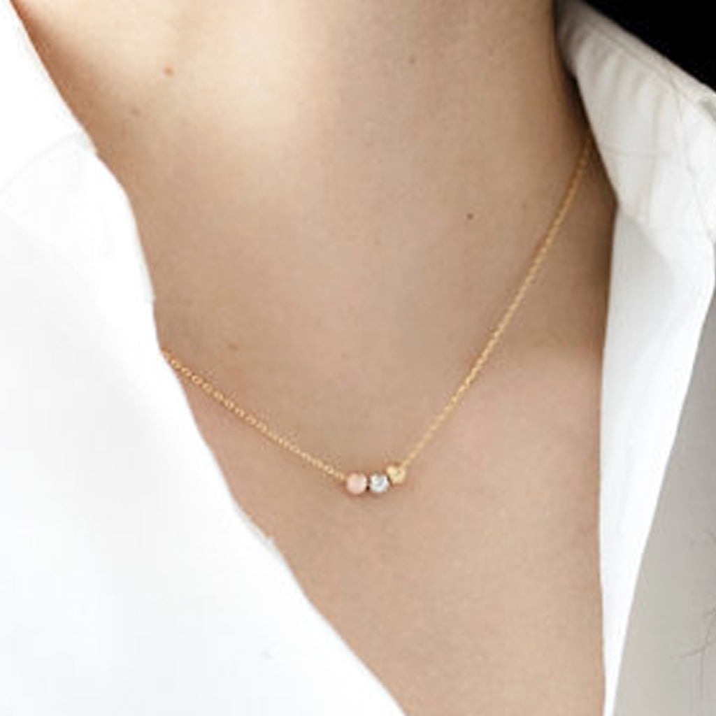 Dainty Necklace 3 Metal Beaded Pendant Choker Minimalist Fashion Jewelry in Gold or Silver - collar de gargantilla colgante con cuentas minimalista -  www.Jewolite.com #necklaces