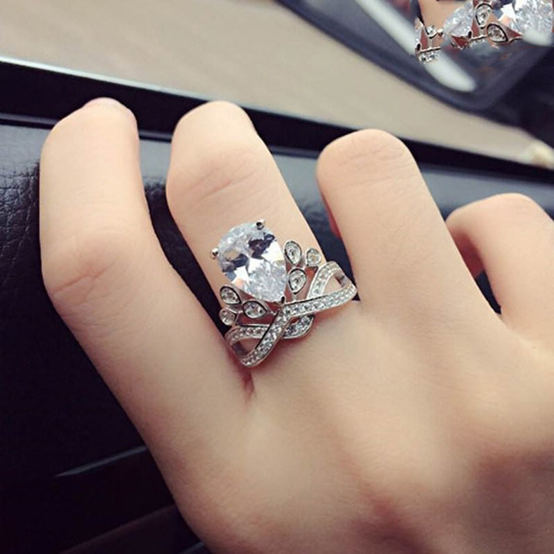 Unique Pear Cut Crown Ring Cute Engagement Promise Graduation Wedding Rings Cubic Zirconia Princess Crystal Diamond Fashion Statement Jewelry in Silver Angela Baby (www.Jewolite.com) #rings