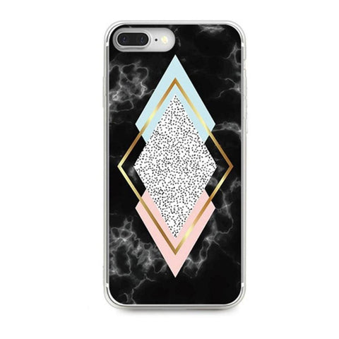 Aviana Cute Geometric Gold Glitter Triangle White Marble Soft Silicone IPhone Case