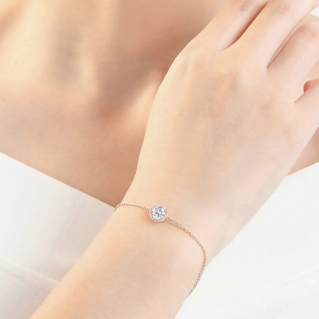 Cute Simple Bracelet Dainty Minimalist Halo Crystal Chain Bracelet in Gold, Silver Statement Fashion Jewelry for Women for Teen Girls (www.Jewolite.com) #bracelets