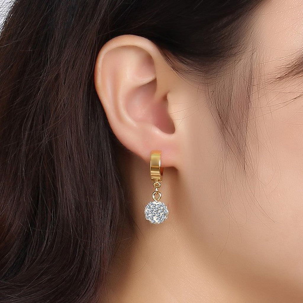 Elegant Ear Piercing Ideas Classy Crystal Drop Gold Huggie Small Hoop Earrings 10mm for Women for Teen Girls (www.Jewolite.com) #earrings