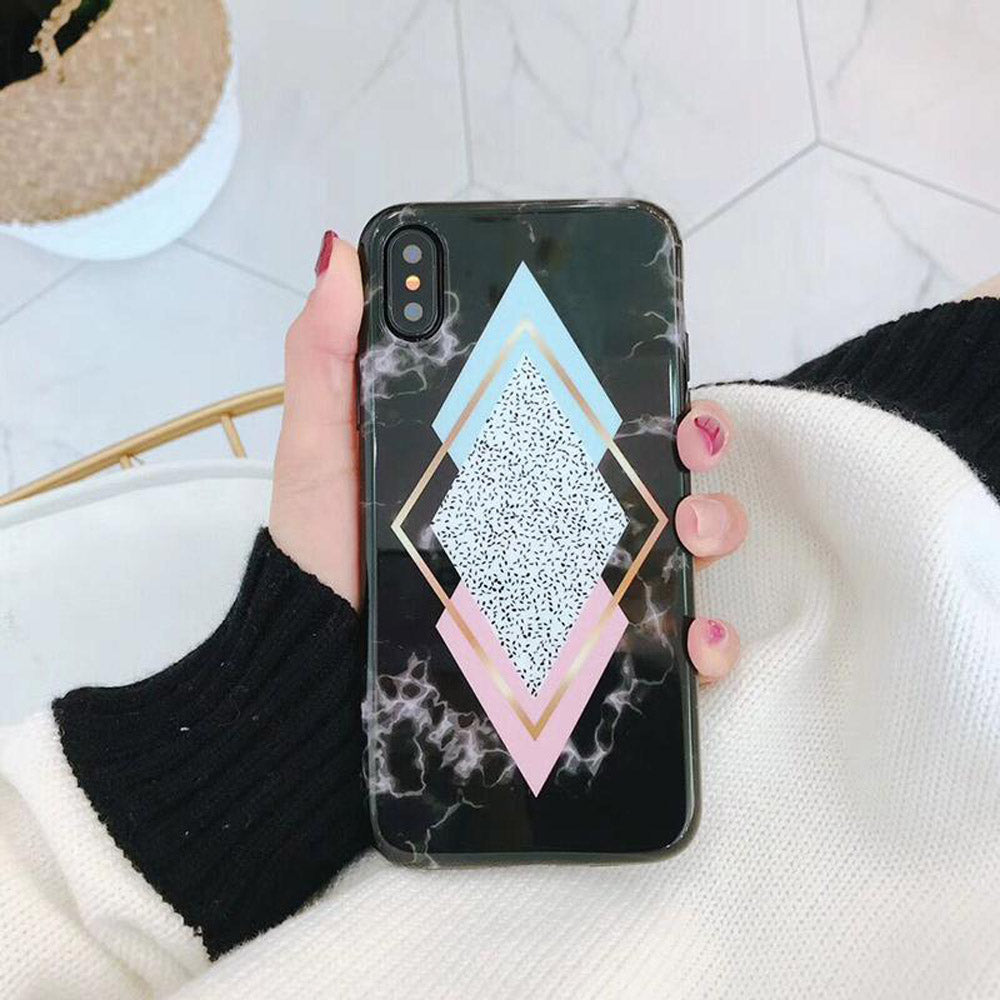 Cute Silver Gold Glitter Geometric White Marble IPhone Cases for Teens Unique Aesthetic Protective Silicone Phone Case - caja del teléfono lindo - www.Jewolite.com
