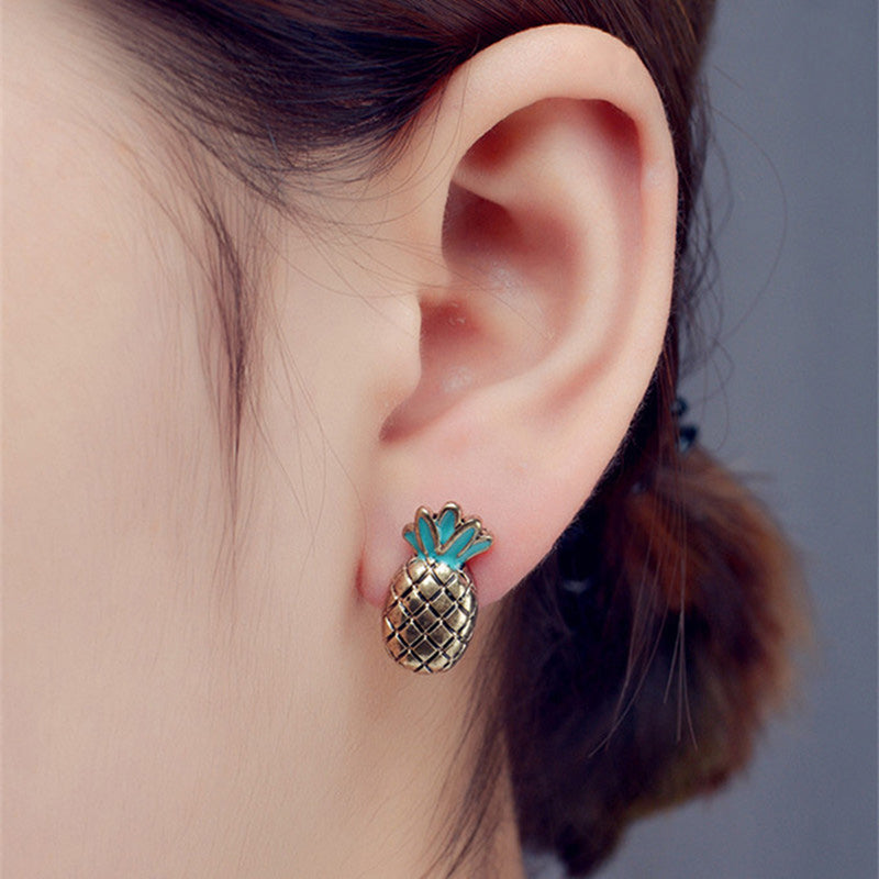 Cute Pineapple Stud Earrings for Teens for Women Unique Statment Jewelry Ear Piercing Ideas (www.Jewolite.com) #earrings