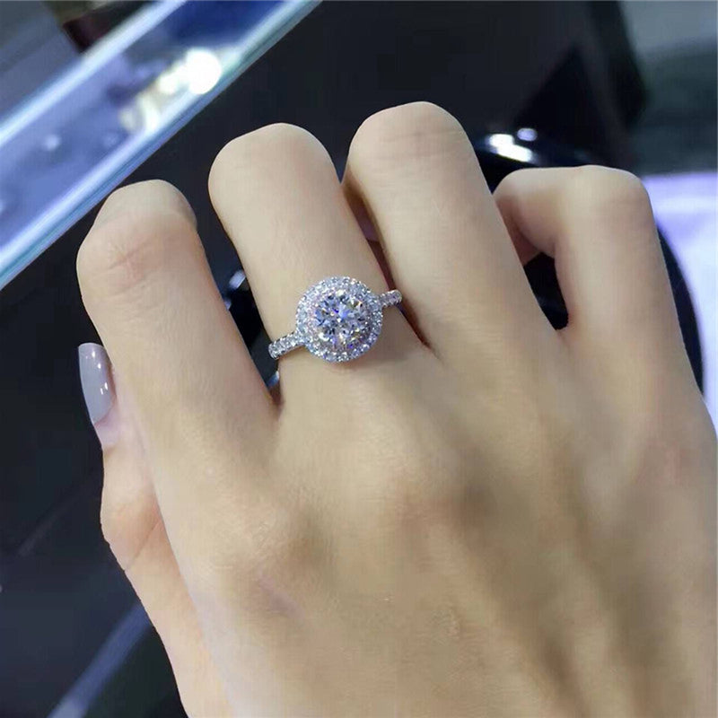 Cute Pink Circle Halo Ring Round Cubic Zirconia Crystal Rings Engagement Promise Anniversary Rings Classic Statement Fashion Jewelry for Women (www.Jewolite.com) #rings