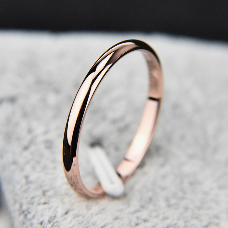 Simple 2mm Stackable Titanium Engagement Band Ring in Rose Gold, Silver, Gunmetal Black for Women or Men - anillo de compromiso simple - (www.jewolite.com)