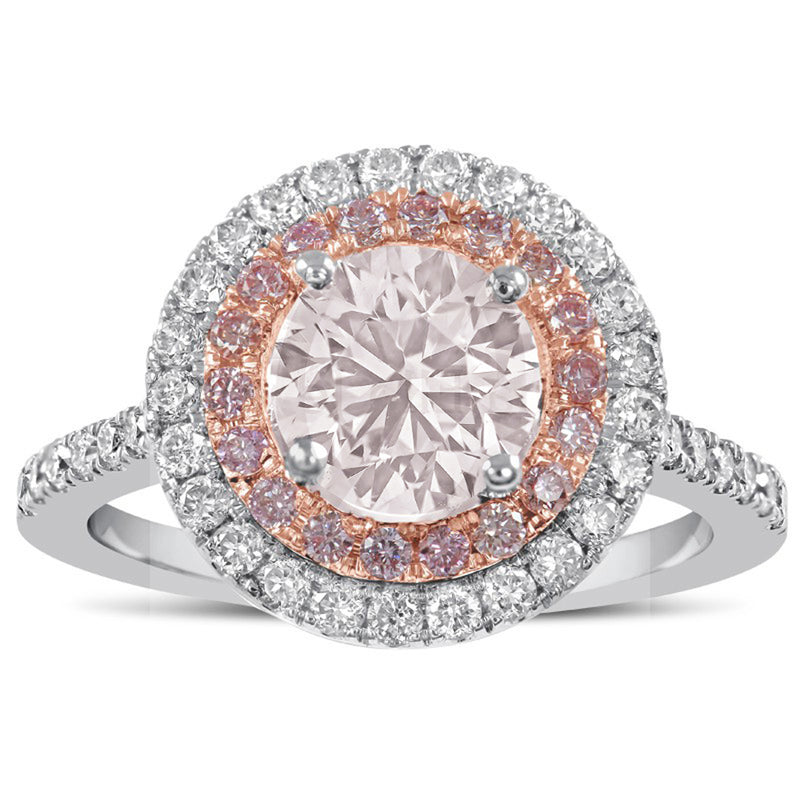 Cute Pink Round Halo Ring Cubic Zirconia Pink Crystal Rings Classic Statement Fashion Jewelry for Women (www.Jewolite.com) #rings