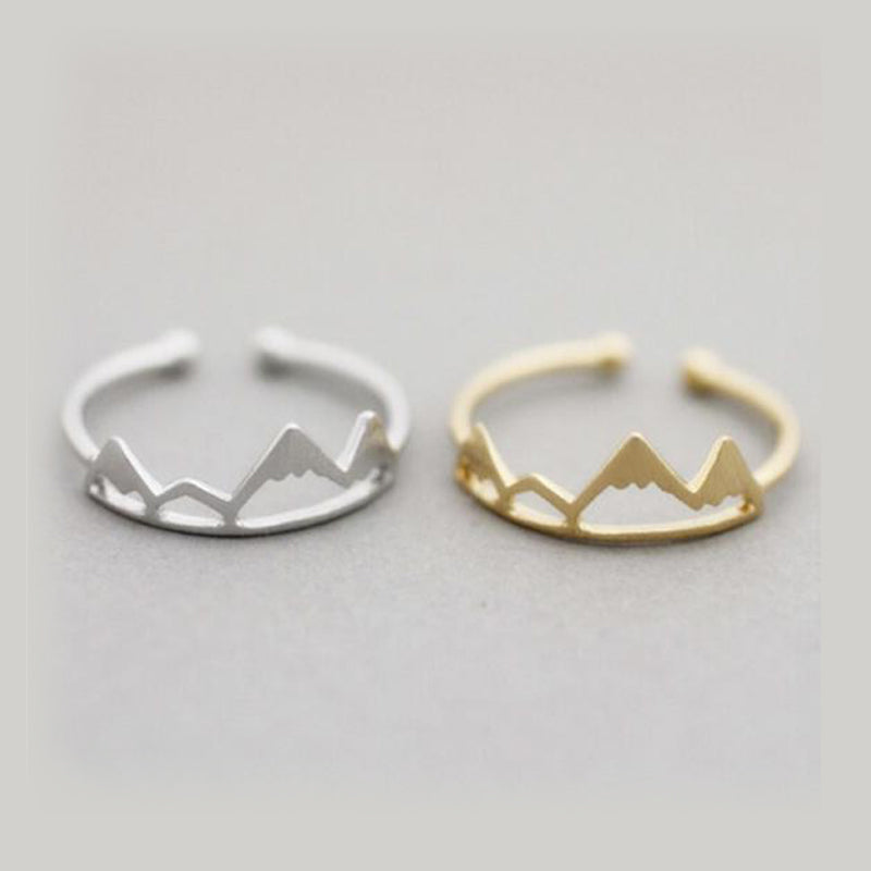 Unique Mountain Ring - Minimalist Simple Hills Peaks Adjustable Rings in Rose Gold Silver for Women - anillo de montaña único para mujeres - www.Jewolite.com #rings