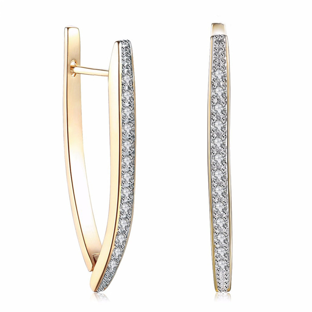 Pretty Ear Piercing Ideas Unique Crystal V Large Hoop Earrings in Gold for Women for Teen Girls (www.Jewolite.com) #earrings