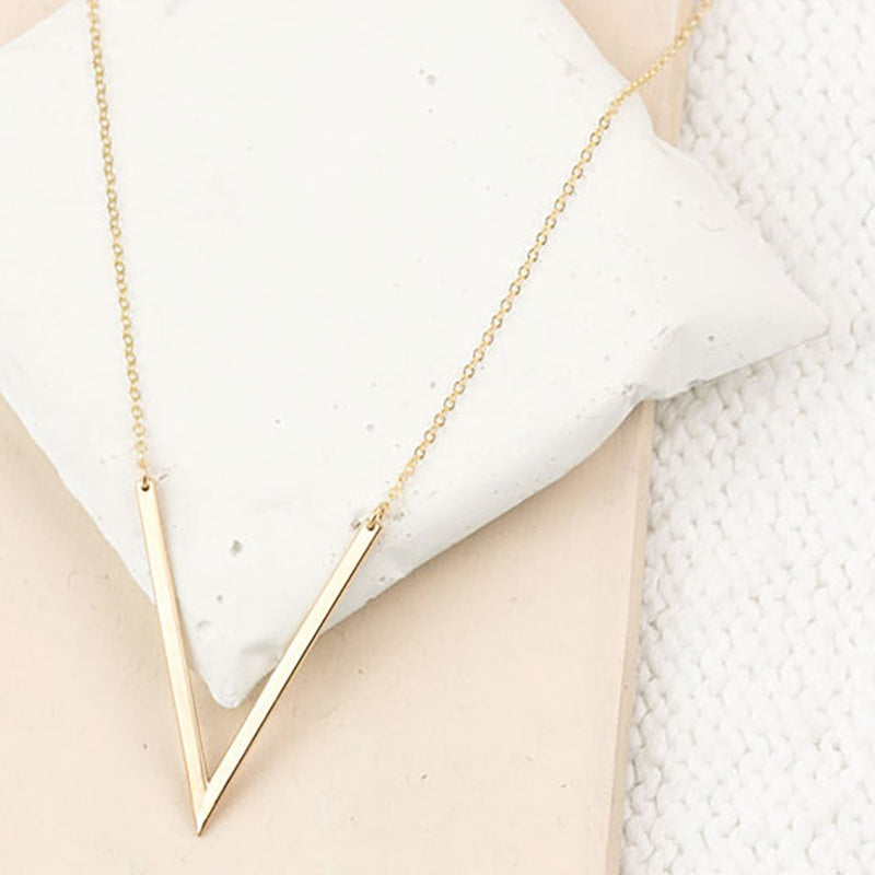 Simple Dainty V Long Necklace Minimalist Fashion Jewelry Women's in Silver or Gold collar largo minimalista (www.Jewolite.com)