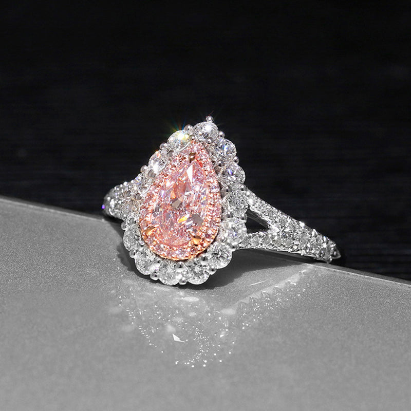 Cute Sparkly Pear Ring Unique Engagement Promise Graduation Wedding Rings Pink Sapphire Teardrop Drop Crystal Diamond Fashion Statement Jewelry in Silver (www.Jewolite.com) #rings