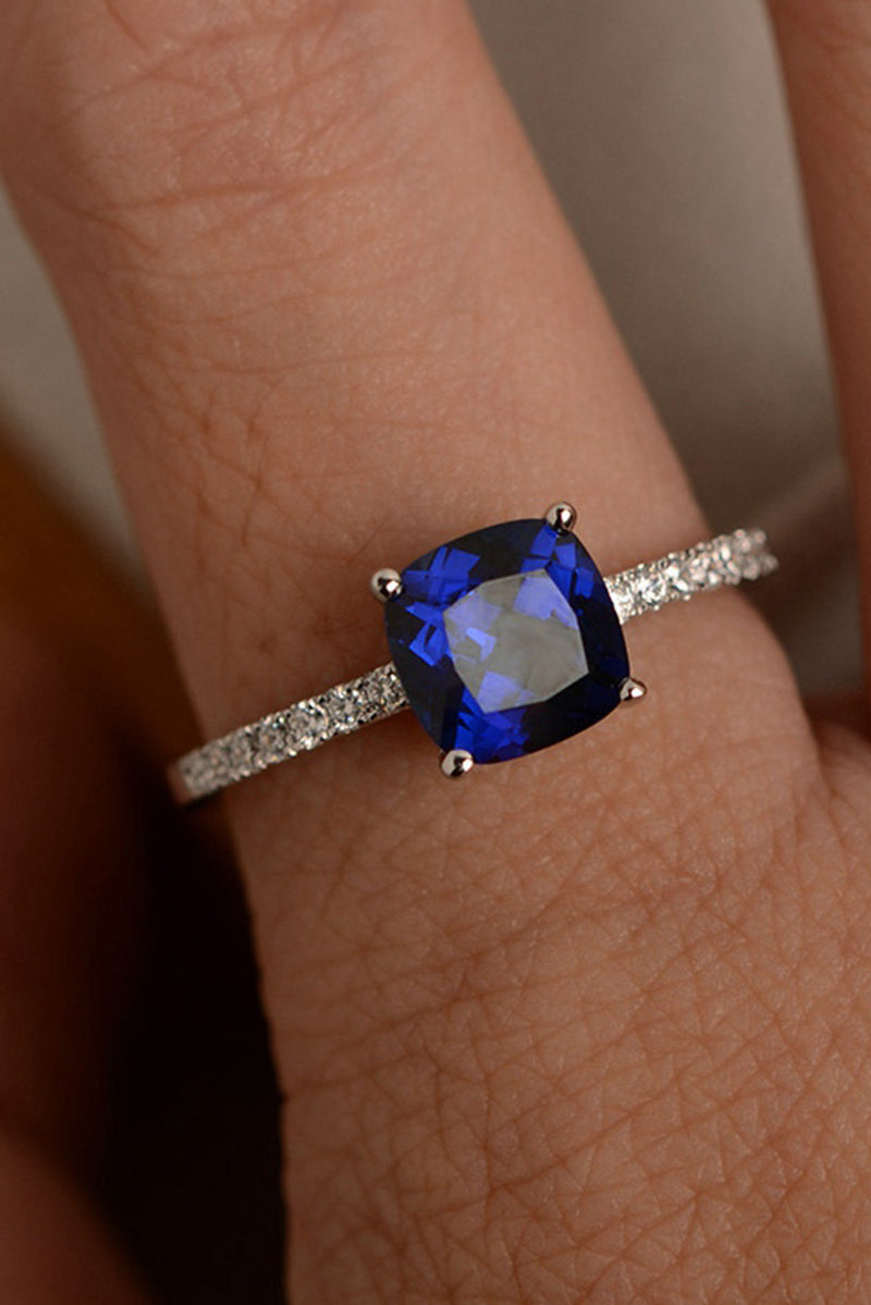 Cute Simple Solitaire Blue Gemstone Crystal Wedding Promise Engagement Ring Ideas Statement Fashion Jewelry for Women for Teens Girls anillo de cristal azul bastante (www.jewolite.com)  Edit alt text