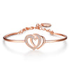 Mackenzie Lotus Feather Heart Pearl Pink Rose Gold Chain & Bangle Bracelet Set 5 Pieces