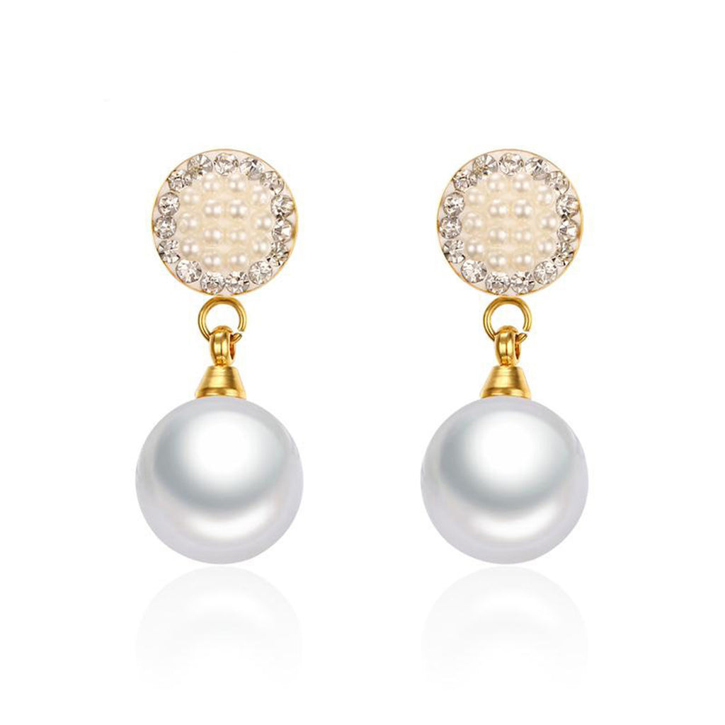 Classy Pearl Dangle Earrings for Women Elegant Fancy Drop Studs for Teens Ear Piercing Ideas pendientes de gota de perla de lujo (www.Jewolite.com)