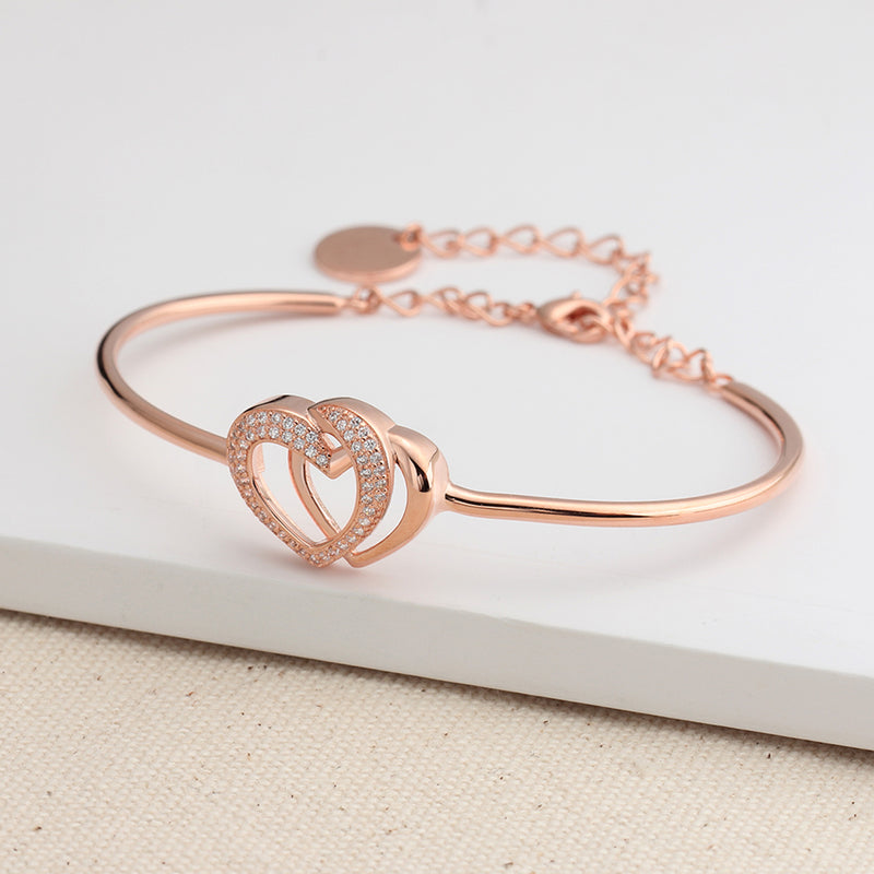 Modern Cute Bracelet Crystal Pave Double Heart Bangle in Rose Gold Statement Fashion Jewelry for Women for Teens (www.Jewolite.com) #bracelets