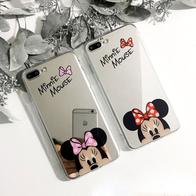 Minnie Mickey Mouse Cute Reflective Mirror Silicone Matching Couple IPhone Case XR XS Max X - www.Jewolite.com