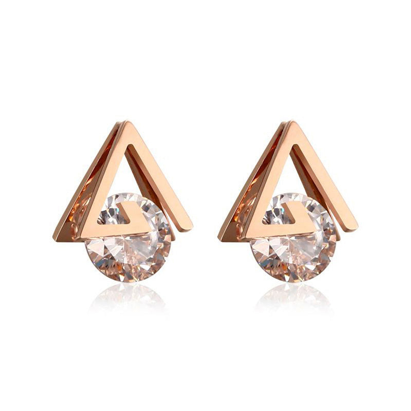 b990637a Nadia Ultra Shine Cubic Zirconia Rose Gold Triangle Stud Earrings