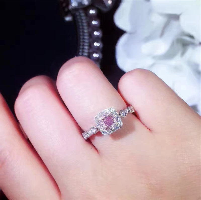 Cute Sparkly Square Ring Unique Engagement Promise Graduation Wedding Rings Pink Sapphire Cushion Cut Crystal Diamond Scalloped Band Fashion Statement Jewelry in Silver (www.Jewolite.com) #rings