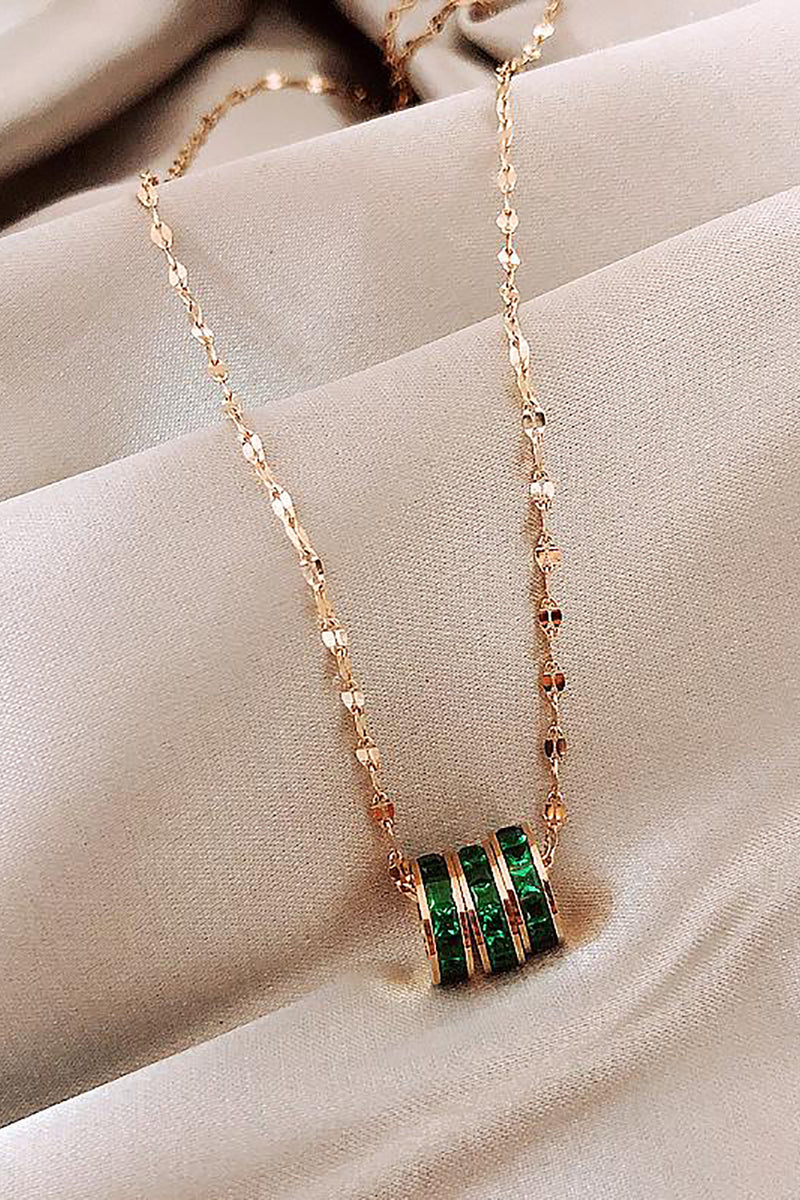 Esmeralda Triple Bead Emerald Dainty Gold Choker Necklace