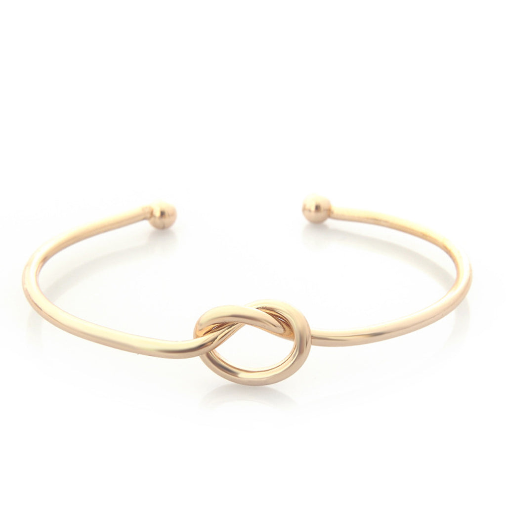 Simple Knot Bangle Bracelet Adjustable in Gold, Silver, Black (www.Jewolite.com) #bracelet #bangle