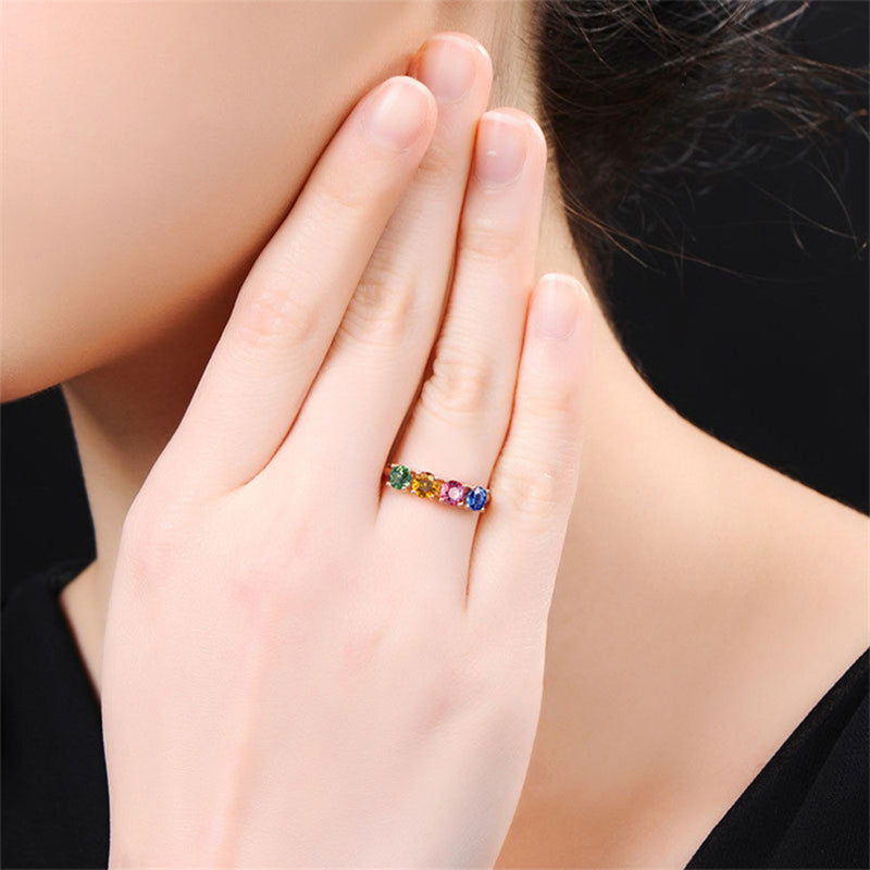 Starlight Multicolor Crystal Prong Adjustable Rose Gold Fashion Ring