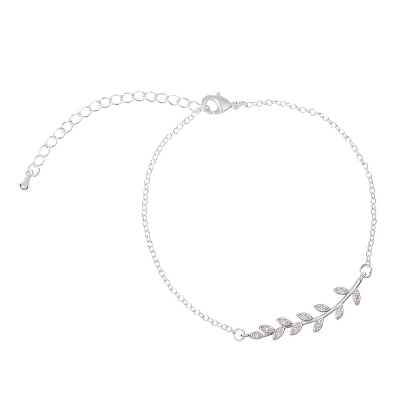 Grace Boho Crystal Leaf Chain Bracelet