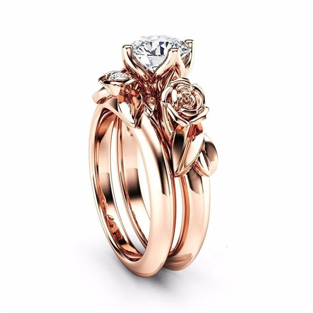 09181a5ad Posy Floral Rose Embellished Ultra Shine Crystal Solitaire Ring Set 2 Pieces